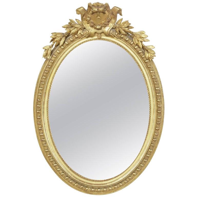 19th Century French Giltwood Regency Style Oval Mirror, Powder Bath Scale