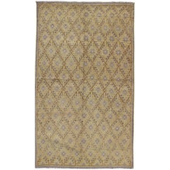 Vintage Turkish Oushak Rug with Lattice Blossom Design in Camel and Gray Colors