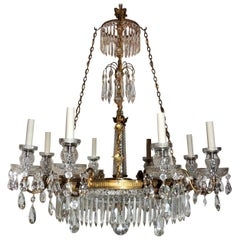 Exceptional Regency Doré Bronze Cut Crystal Centre Bowl Empire Baltic Chandelier