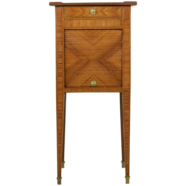 18th Century French Louis XVI Period Rosewood Marquetry Nightstand or Side Table For Sale
