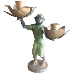 Vintage Cast Iron Monkey Candleholder