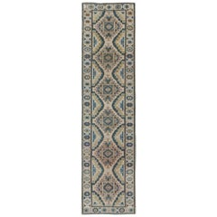 Teal, Green, Blue and Yellow Vintage Turkish Oushak Runner with Geometric Design