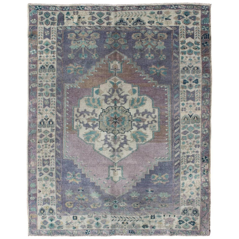 Faded Vintage Turkish Oushak Rug With Floral Layered