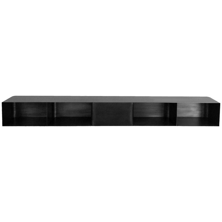 Chicago Wall-Mounted Shelf in Waxed Blackened Steel by Jonathan Nesci