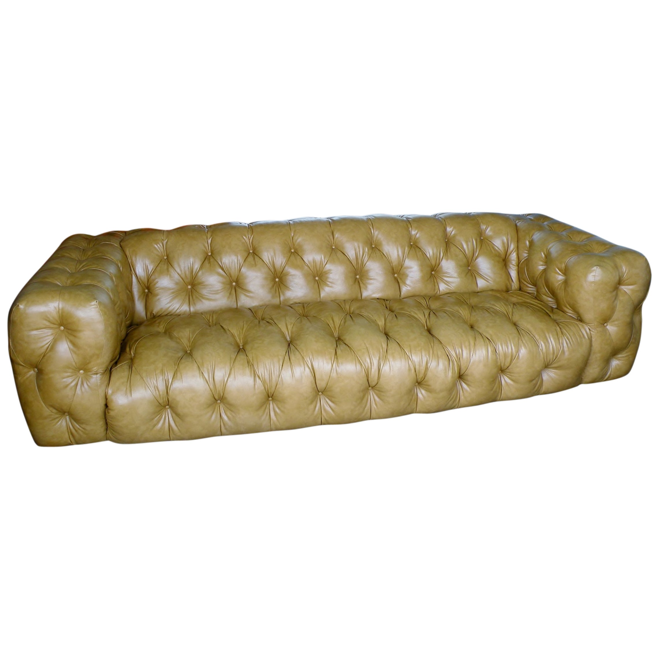 Milo Baughman Thayer Coggin Button Tufted Tuxedo Chesterfield Sofa