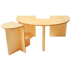 Lunar Table and Eclipse Chair Play Set by Kinder Modern in Pure Birch Plywood