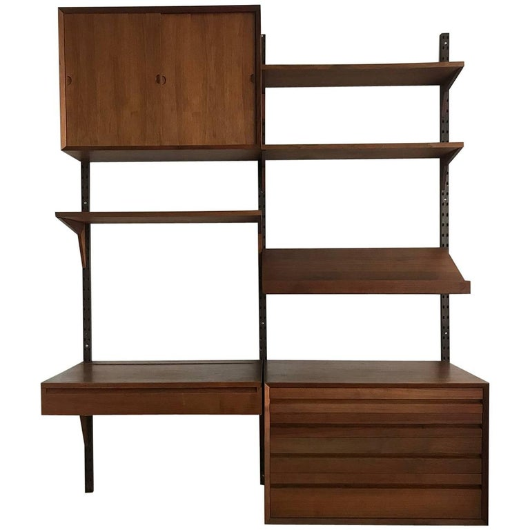 Midcentury Teak Modular Poul Cadovius Wall Unit and Desk with Mirror