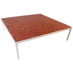 Midcentury Modern Low Coffee Table with Mosaic Tile Top