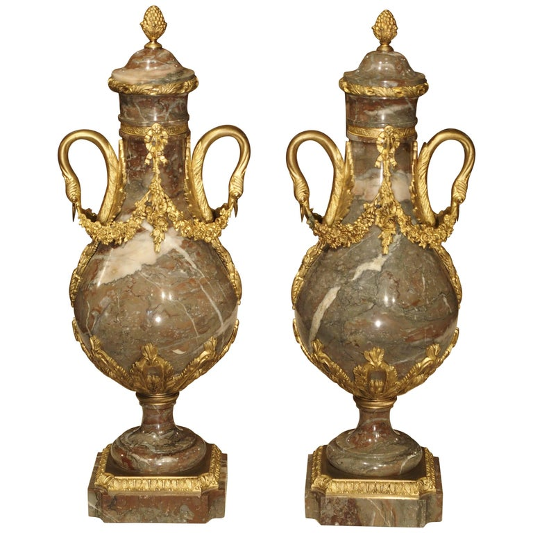 Pair of Gilt Bronze and Marble Cassolettes from France, circa 1860