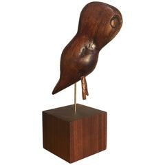 Folk Art Wooden Owl Americana Craft, Late 19th-Early 20th Century