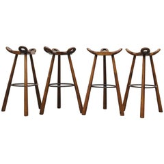 Set of Four Sergio Rodrigues Style Bar Stools
