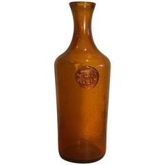 Erik Hoglund Amber Glass Bottle with Cat Motif, 1960s Vintage Swedish Modern