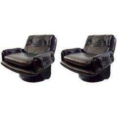 Pair of Black Leather Lounge Chairs