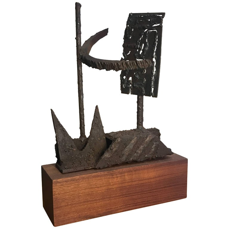 1970s Torch Cut Iron Brutalist Abstract Sculpture 1