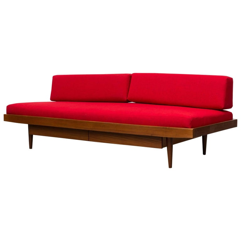 Midcentury Perriand Style Daybed with Drawers For Sale