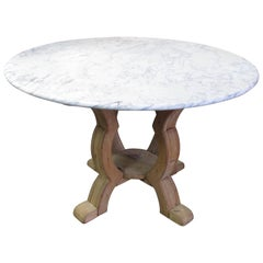 Weathered Pine and Marble Top Center Table