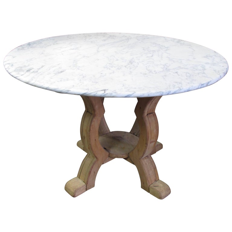Weathered Pine and Marble Top Center Table For Sale