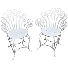 Pair of Antique French Wrought Iron Garden Chairs in White, Restored