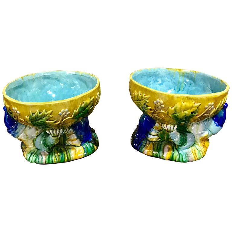 """Pair of Majolica George Jones Style """"Punch"""" Bowls For Sale"""