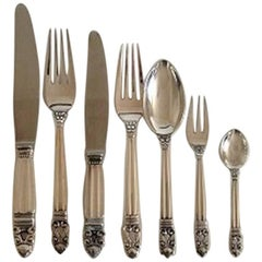 Georg Jensen Acorn Sterling Silver Flatware Set for Six Persons 42 Pieces