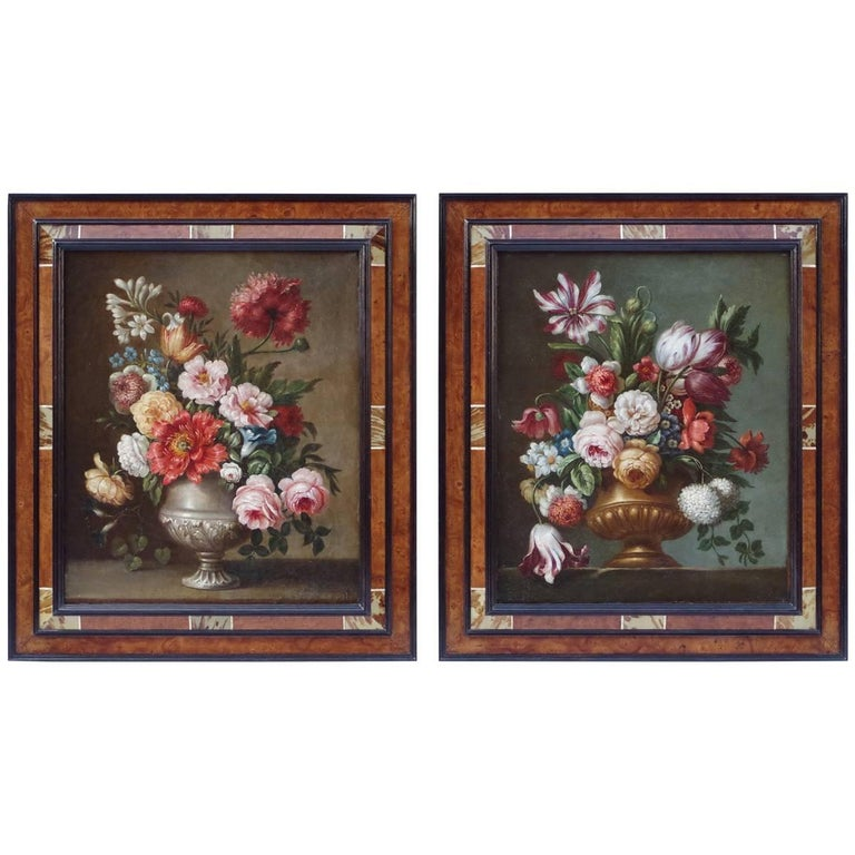 "Pair of Still Life ""Flowers Bouquets"", Oils of Canvas, 19th Century For Sale"