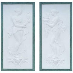 "Pair of Plaster Bas-Reliefs, ""The Offerings"", 19th Century"