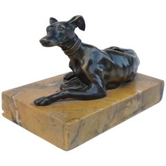 """Small Bronze Sculpture """"Greyhound"""" on Marble Stand, End of the 19th Century"""