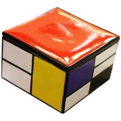 Mondrian Style Box in Porcelain
