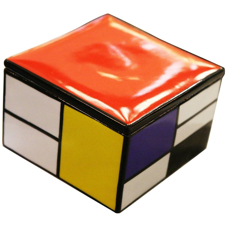 Mondrian Style Box in Porcelain