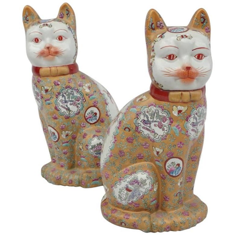 "Pair of Canton Style Porcelain ""Cats"" Sculptures, circa 1980"