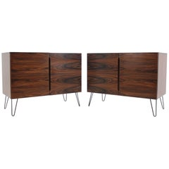 Set of Two Upcycled Palisander Sideboards on Hairpin Legs