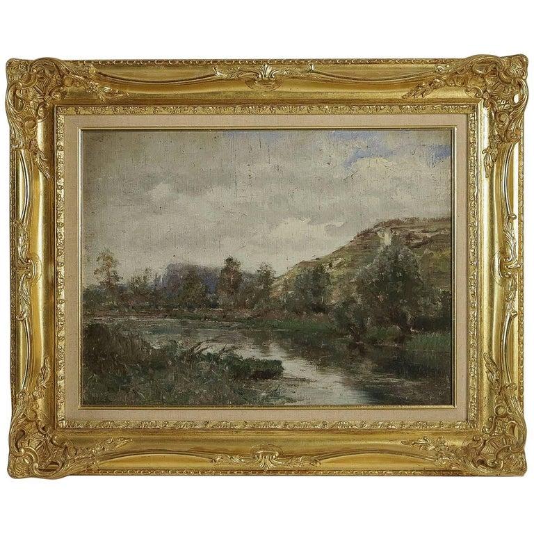 Barbizon School, River Landscape, Oil on Cardboard, circa 1880-1890 For Sale