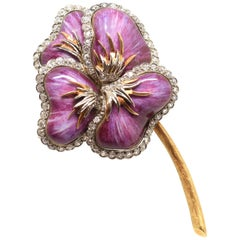 18-Karat Gold Brooch with Enamel and Brilliants, 20th Century