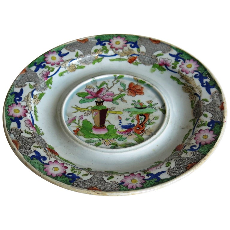 Early Mason's Ironstone Teapot Stand Table and Flower Pot Pattern, circa 1815 For Sale