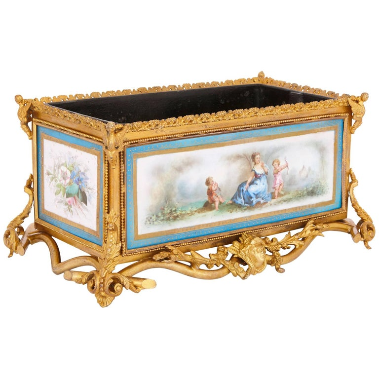 French Antique Sevres Style Porcelain and Gilt Bronze Jardiniere  For Sale