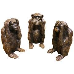 Set of Three Monkeys in Solid Bronze