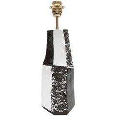 Ceramic Lamp Base Glazed in Black and White