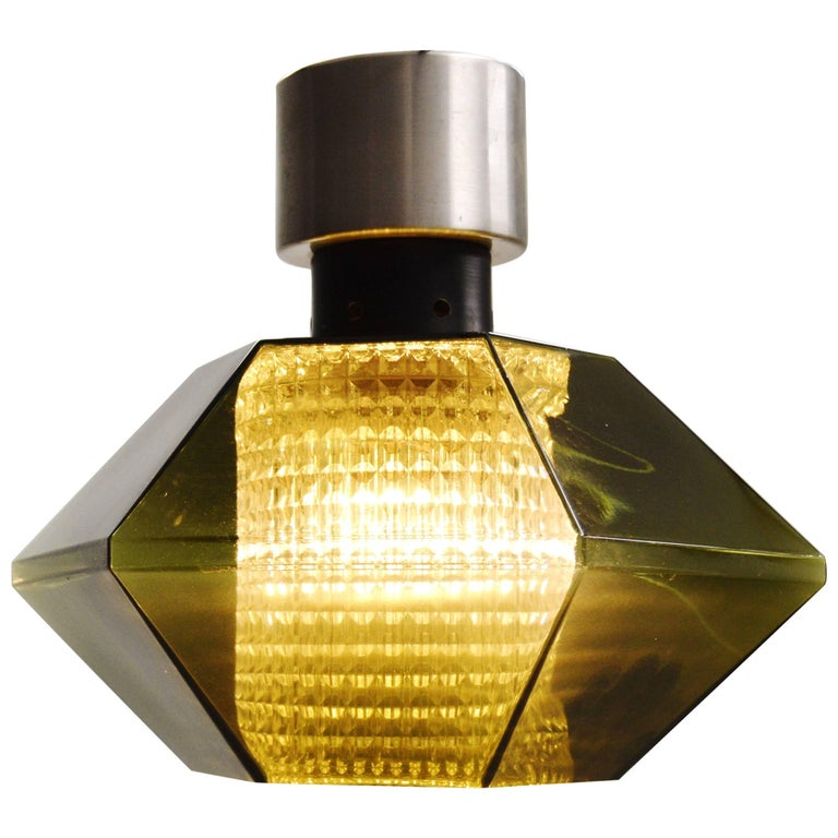 Orrefors Carl Fagerlund Ceiling Light with Handblown Green Glass