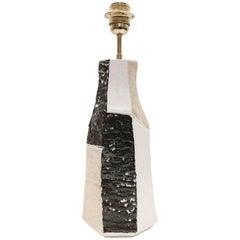 Ceramic Lamp Base Glazed in White, Beige and Dark Brown
