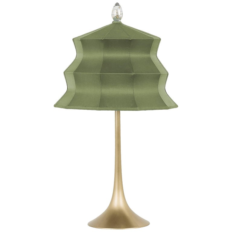 """""""Pagoda"""" Table Lamp, in brass  and sage Silk, Silver Crystal Tip, Handmade For Sale"""