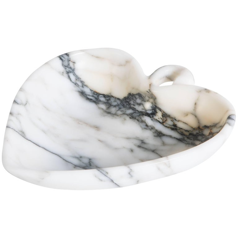 Small Leaf Bowl in Paonazzo Marble Handmade in Italy