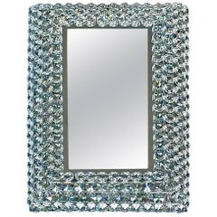 Petite Square Chrome Brass Faceted Crystal Glass Backlit Mirror by Palwa, 1970s