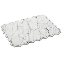 White Carrara Marble Place-Mat with Lace Edge