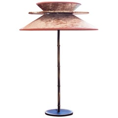 """Daisy"" Table Lamp in Brass, rose Velvet and silvered clover Glass Handmade"