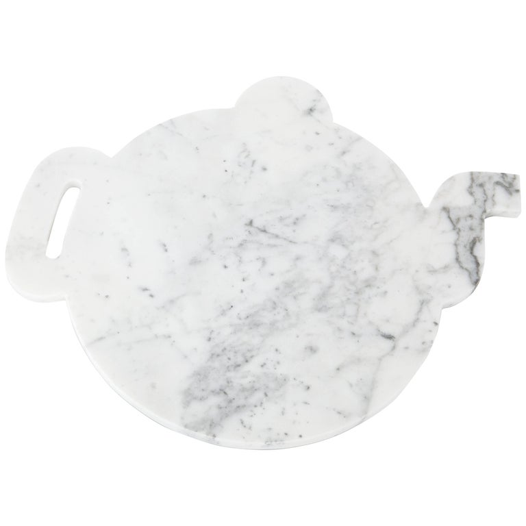 White Marble Plate Design Shape of a Teapot