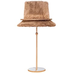 """Pretty"" Table Lamp in matt Brass, Ecological Fur, Silvered Glass circle"