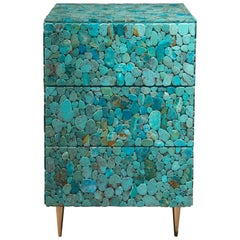 Kam Tin, Turquoise Nightstand with Flate Natural Turquoise, France, 2017