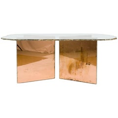 Fly Coffee Table Crystal Silvered Glass Top and Metal Base Coated Glass