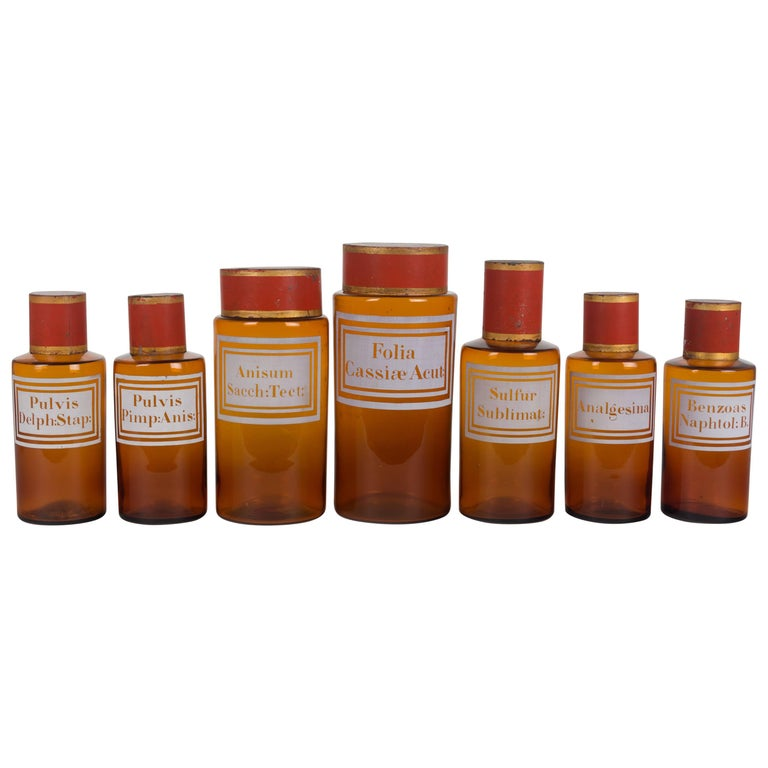 Set of Seven 19th Century French Apothecary Jars