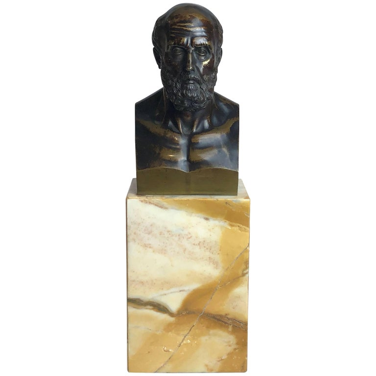 Bronze Grand Tour Bust of Hippocrates, circa 1840 For Sale
